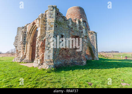 st benets abbey in norfolk at holme on the norfolk broads uk medieval monestery - Stock Image