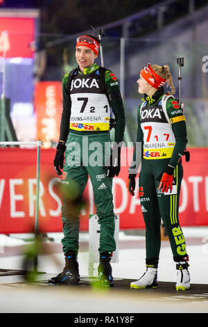L-R: Philipp Lipowitz, Franziska Pfnür. The German Team Challenge takes place during the JOKA Biathlon WTC auf Schalke featuring young German biathlethes. - Stock Image