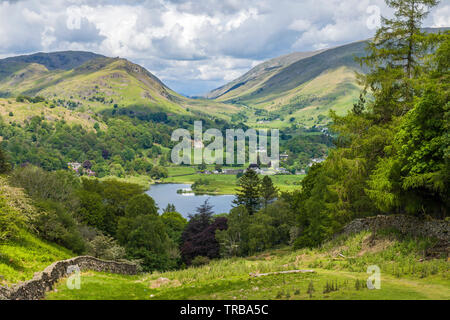 The view to Dunmail Raise with Helm Crag, Grasmere and the fells of Rydal and Great Rigg to the right in the Lake District - Stock Image