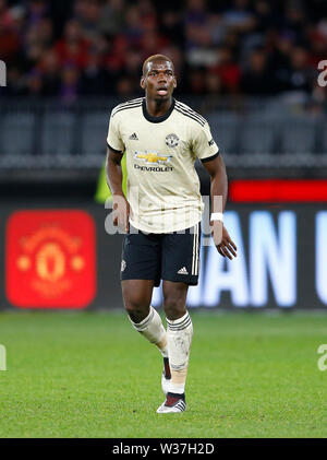 Optus Stadium, Perth, Western Australia. 13th July, 201913th July 2019, Optus Stadium, Perth, Western Australia; Pre-season friendly football, Perth Glory versus Manchester United; Paul Pogba of Manchester United watches play Credit: Action Plus Sports Images/Alamy Live News - Stock Image