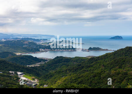 Magnificent views of the Pacific coast from the Jiufen village on November 7, 2018, in Jiufen, Taiwan - Stock Image