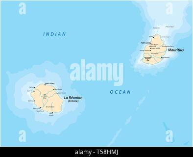 vector map of the mascara islands la reunion and mauritius - Stock Image