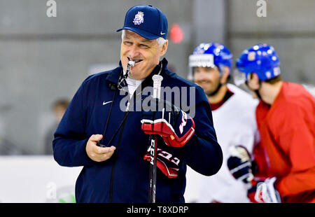 Czech Head Coach Milos Riha attends a training session of the Czech national team within the 2019 IIHF World Championship in Bratislava, Slovakia, on May 15, 2019, one day prior to the match against Latvia. (CTK Photo/Vit Simanek) - Stock Image