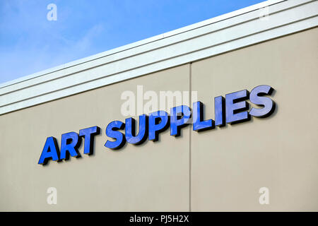 Art Supplies outdoor exterior sign at a Hobby Lobby store in Montgomery, Alabama, USA. - Stock Image