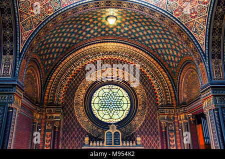 The Spanish Synagogue in Prague. Moorish Revival architecture. - Stock Image
