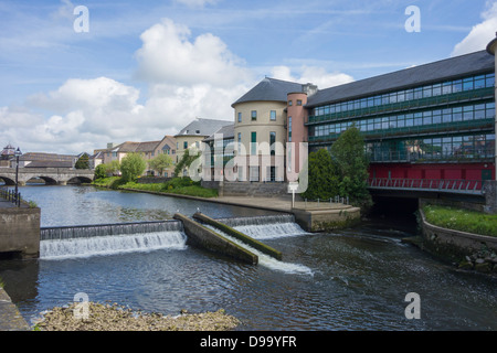 Pembrokeshire County Council's offices overlooking the Cleddau river at County Hall, Haverfordwest - Stock Image
