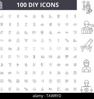 Diy line icons, signs, vector set, outline illustration concept  - Stock Image