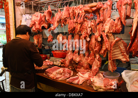 Fish and meat market fishmonger stall - Stock Image