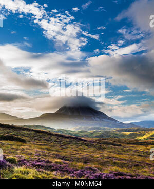 Looking towards Mount Errigal, one of Ireland's most iconic mountains, from bogland outside Gort an Choirce - Stock Image