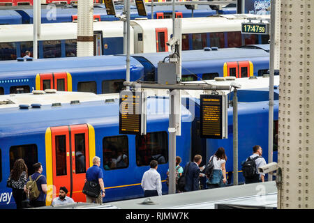 London England United Kingdom Great Britain Lambeth South Bank Waterloo Station trains railway train shed platforms National Rail network central term - Stock Image