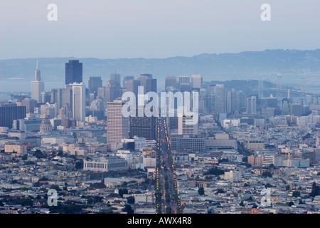 San Francisco skyline and Market Street, San Francisco, California, USA - Stock Image