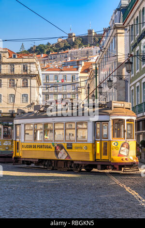 Tramway, Praca da Figueira square, Lisbon, Portugal - Stock Image