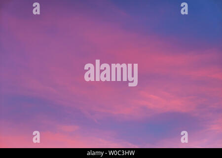 Pink clouds in the evening sky. - Stock Image
