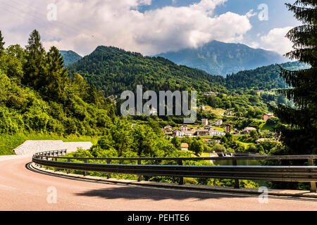 Winding road up to Pieve Tesino, Trentino, Italy - Stock Image