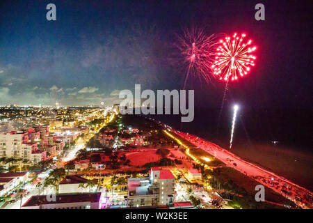 Miami Beach Florida North Beach Fire on the Fourth Festival July 4th annual event fireworks display burst - Stock Image