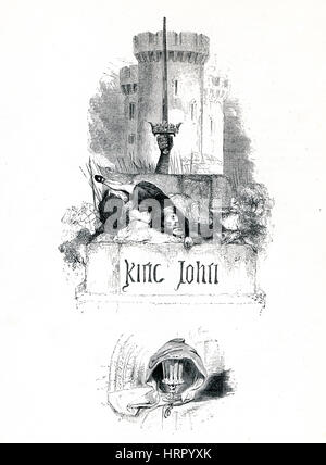 King John, Victorian book frontispiece for the play by William Shakespeare from the 1849 illustrated book Heroines - Stock Image