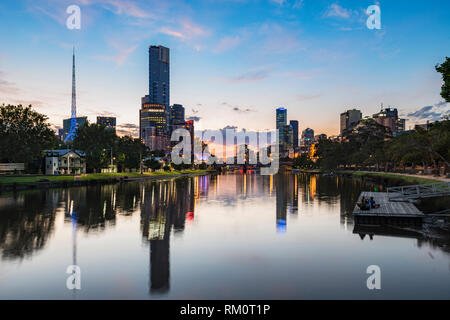 Night lights over Melbourne city. - Stock Image