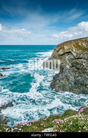 The rugged rocky coast around Pentire Point West in Newquay in Cornwall. - Stock Image