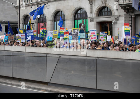 Marchers and placards, People's Vote March, London, England - Stock Image