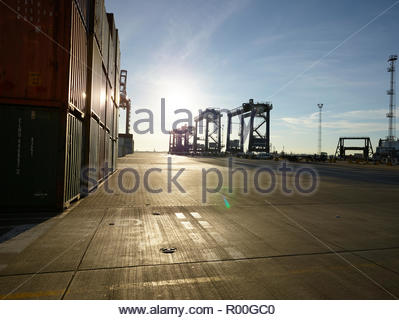 Cargo containers and cranes at Port of Felixstowe, England - Stock Image
