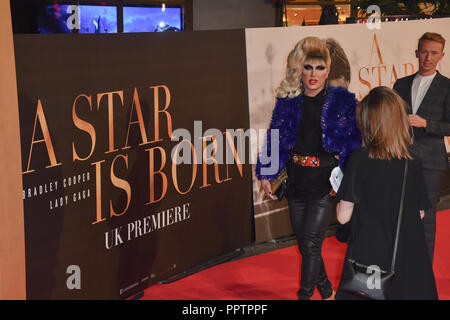 London, UK. 27th September 2018. Celebrities attend A Star Is Born UK Premiere at Vue Cinemas, Leicester Square, London, UK 27 September 2018. Credit: Picture Capital/Alamy Live News - Stock Image