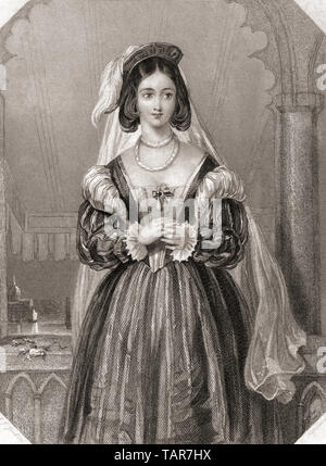 Portia.  Principal female character from Shakespeare's play The Merchant of Venice.   From Shakespeare Gallery, published c.1840. - Stock Image