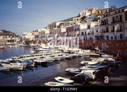 Sunny day at Ponza island, sea view, Pontine archipelago. 1991 Slide scan. Italy - Stock Image