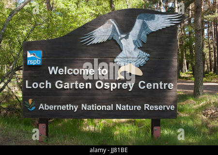 sign post for Loch Garten RSPB Osprey Centre, Abernethy National Nature Reserve, Scotland, British Isles - Stock Image
