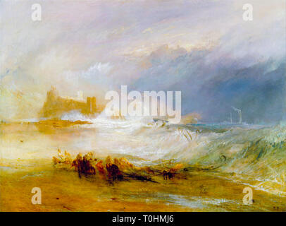 JMW Turner, Wreckers, Coast of Northumberland, with a Steam-Boat Assisting a Ship off Shore, painting, c. 1833 - Stock Image