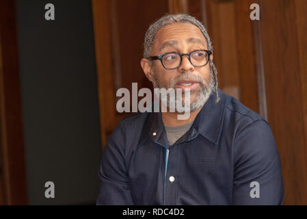 US artist Arthur Jafa during an introducing of the 'A Series of Utterly Improbable, Yet Extraordinary Renditions' exhibition by him in the Rudolfinum  - Stock Image
