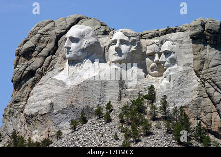 The profile of the first president of the United States, President George Washington, Thomas Jefferson, Theodore Roosevelt and Abraham Lincoln, whose  - Stock Image