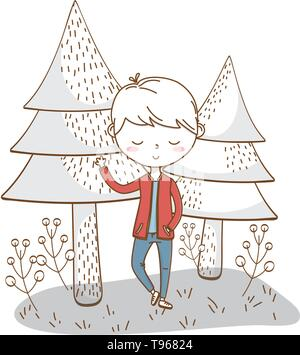 Stylish boy blushing cartoon outfit jeans jacket waving hello  nature background vector illustration graphic design - Stock Image