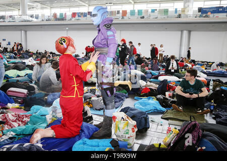 Sleep room at the 19th edition of the Pyrkon Fantasy Festival, which took place at the Poznan International Fair on April 26-28, 2019. Photo CTK/Grzeg - Stock Image