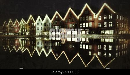 Bryggen, Bergen, Norway, Christmas - Stock Image