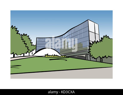 Illustration of the French Communist Headquarters building designed by Oscar Niemeyer in Paris, France - Stock Image