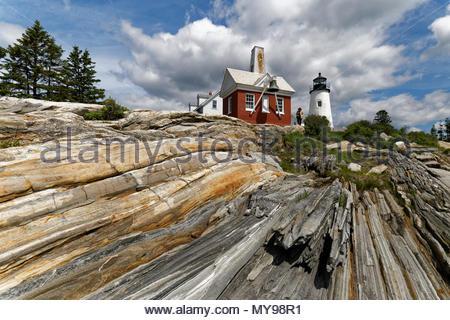 Pemaquid Point Lighthouse, Bristol, Maine, USA - Stock Image