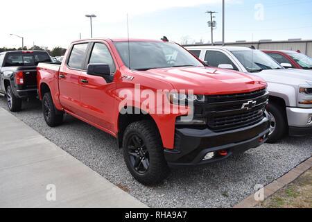 2019 Red Chevrolet Silverado Z71 Pickup Truck. - Stock Image