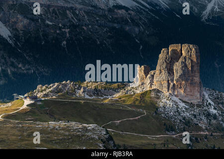 Europe, Italy, Alps, Dolomites, Mountains, Cinque Torri, View from Rifugio Nuvolau - Stock Image