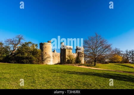 Bodiam Castle in the distance on a sunny winter's day, Sussex, UK - Stock Image