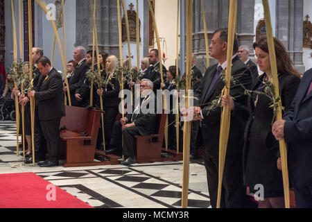 Tenerife, Canary Islands, members of the congregation during the Palm Sunday Holy Week service in the Cathedral of San Cristobal de La Laguna. - Stock Image