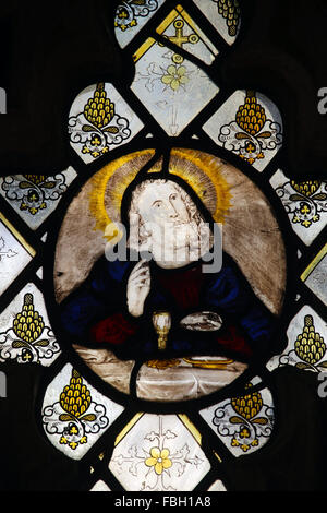 15th Century Stained Glass, depicting Jesus at the Last Supper, St Michael's Church, Irstead, Norfolk - Stock Image