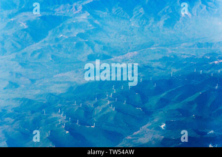 Aerial view of windmills in the mountain, Gansu Province, China - Stock Image