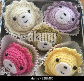 Crochet cupcakes. - Stock Image