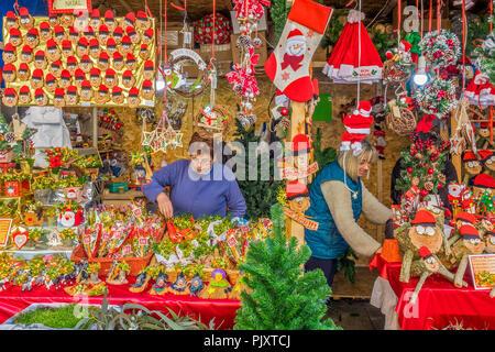 Christmas Market In Barcelona, Spain - Stock Image