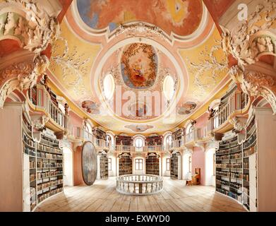 Old library, Abbey Saint Mang, Fuessen, Bavaria, Germany, Europe - Stock Image