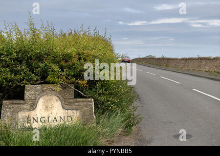 England Scottish border on Highway 68 near Paxton Berwick upon Tweed Scotland UK - Stock Image