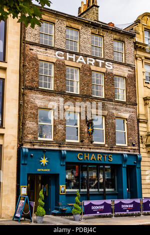 Charts bar pub opened in 2018 after the building,once a former sailors' map storing house, had been derelict for 7 years. Newcastle quayside, UK. - Stock Image