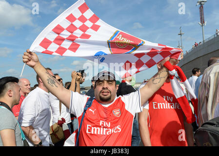 Arsenal fan holding up a club flag at the FA Cup Final 2017 Arsenal vs Chelsea in Wembley. London, UK 27.05.2017. - Stock Image