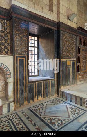 Hall at ottoman era historic house of Moustafa Gaafar Al Seleehdar located at Al Darb Al Asfar District, Cairo, Egypt - Stock Image