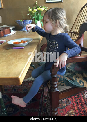 Three year old girl alone eating lunch at the dinner table - Stock Image